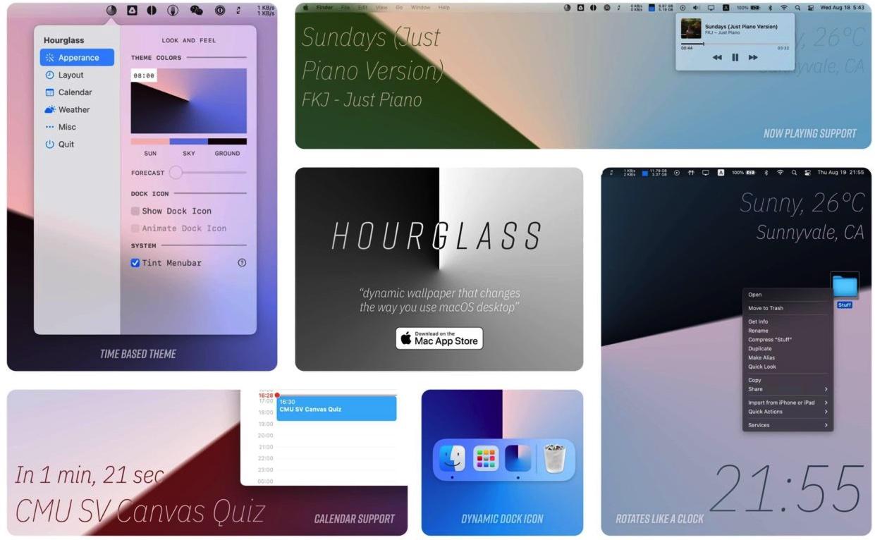 [Mac] HourGlass :动态桌面时钟