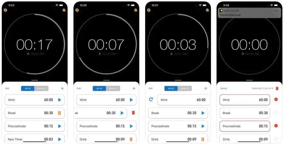 [iPhone/iPad限免] Timer Machine Pro :支持多任务运行的倒计时提醒工具