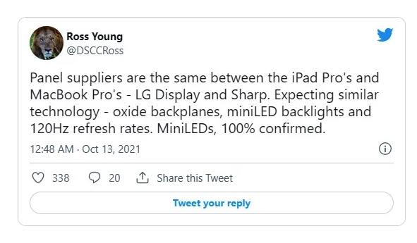 2021新MacBook Pro可能采用120Hz Mini-LED屏幕